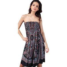 3e75377dd9 Shawhuaa Womens Bohemian Vintage Tube Dress Summer Casual Beachwear  XX-Large Black: The fashion beach dress features a empire waistline and  vintage pattern ...