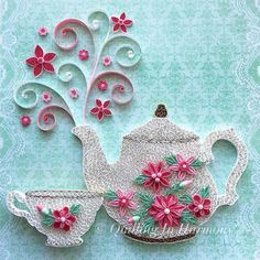 """Title: """"TIME FOR TEA"""" 12""""x 12"""" (30cmx30cm) framed Quilling, hand crafted paper artwork by Jan and Shannon."""