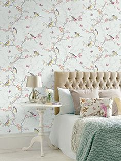 Shop Phoebe Birds Wallpaper Soft Teal Free Delivery And Returns On Eligible Orders