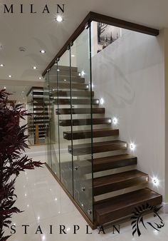 43 Affordable Glass Staircase Design Ideas - My Design Fulltimetraveler Glass Stairs Design, Home Stairs Design, Glass Railing, Interior Stairs, House Design, Glass Balustrade, Stairs With Glass, Interior Architecture, Stair Banister