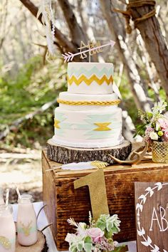 Love this aztec boho cake! Dreamy Navajo 1st Birthday Party via Kara's Party Ideas KarasPartyIdeas.com   Cake, printables, tutorials, giveaways, and more! #dreamynavajoparty #dreamynavajoparty (16)