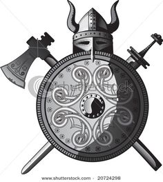 stock vector : Helmet, sword, axe and Shield of Vikings