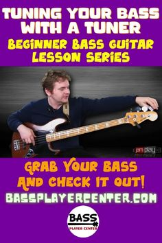 This beginner level bass guitar video lesson teaches you how to tune your bass using a clip-on tuner #Tuner #BassTuner #BassGuitar #LearnBass #BeginnerBass #BassVideos Bass Guitar Scales, Play Guitar Chords, Learn Bass Guitar, Bass Guitar Lessons, Guitar Lessons For Beginners, Guitar Songs, Teach Yourself Guitar, Basic Music Theory, Guitar Exercises