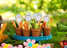 make vegie cups out of mini pot planters at an insect party
