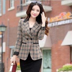 Blazer Feminino Formal Suit Xadrez