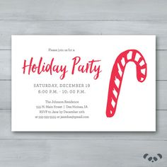 Holiday Party Invitation    Candy Cane by PandafunkCreations