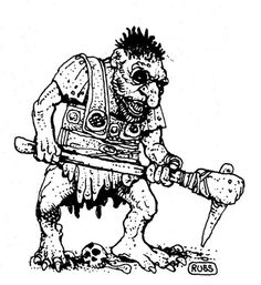 "oldschoolfrp: "" Giant troll (Russ Nicholson, AD&D Fiend Folio, TSR, "" Dream Fantasy, High Fantasy, Fantasy World, Fantasy Art, Fantasy Town, Warhammer Lore, Hatch Drawing, Dcc Rpg, Nostalgia Art"