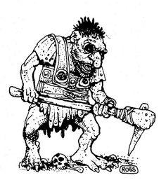 Giant troll (Russ Nicholson, AD&D Fiend Folio, TSR, 1981)