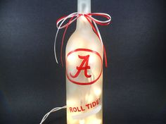 University of Alabama Crimson Tide Hand Painted Lighted Wine Bottle Light Frosted Roll Tide Red White 750ml