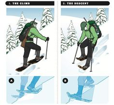 """The saying goes that if you can walk, then you can snowshoe. Maybe, but it would be wrongheaded to simply strap a pair on and hit the backcountry. """"You're basically tying these big tennis rackets to your feet,"""" says former Mount Rainier chief climbing ranger Mike Gauthier. """"It's not as intuitive as one might think."""" Here's Gauthier's advice for traversing a steep hill in deep snow."""