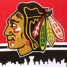 Chicago Blackhawks painting on a 2'x2' sheet of plywood, with the Chicago skyline on the bottom.