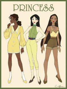 Tiana, Mulan and Pocahontas Disney Pixar, Heros Disney, Arte Disney, Disney Fan Art, Disney And Dreamworks, Disney Animation, Disney Cartoons, Disney Love, Disney Magic