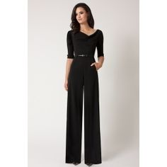 This 3/4 Sleeve Jackie Jumpsuit by Black Halo is long, wide-legged, elegant, and just perfect!