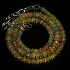 """49 Crts 1 Strands 3 to 7 mm 13"""" Beads necklace Ethiopian Welo Fire Opal 60306"""