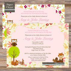 Girls Baby Shower invitation woodland animals pink floral, digital file, printable. Could probably get blue for boys :)