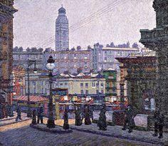 The Sunlit Square, Victoria Station Charles Ginner Camden Town Group Camden Town, Camden Group, French Impressionist Painters, London Painting, Cityscape Art, A Level Art, Building Art, Landscape Paintings, Landscapes