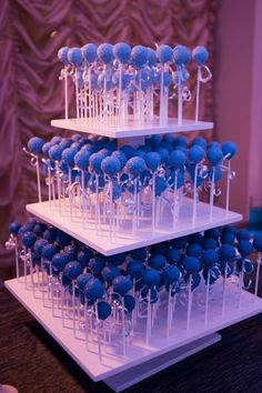 3 Tier Square Custom Made Cake Pop Stand. Blue Wedding Decorations, Sweet 16 Decorations, Quince Decorations, 18th Birthday Party, Sweet 16 Birthday, Quinceanera Decorations, Quinceanera Party, Quince Themes, Quince Ideas