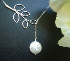 Bridal Pearl Necklace Leaf Necklace June by DanglingJewelry, $28.00