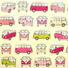 Campervan Pink Gloss Oilcloth