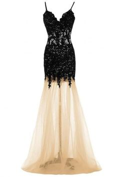 Exquisite Black Lace Mermaid Prom Evening Dress,Spaghetti Strap Charming Dress,V-neck Prom Party Dress