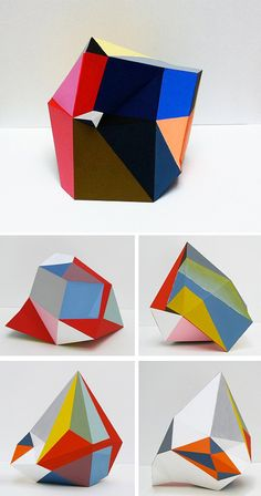 Irregular geometric patterns / multi faceted paper gems by Lisa Hamilton Art Lessons, Geometric Art, Design, Sculpture Art, Creative, Art, Abstract, Paper Sculpture, Textures Patterns
