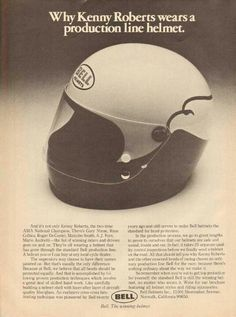 BELL HELMET Kenny Roberts Racing Helmets, Motorcycle Helmets, Bell Moto 3, Bell Helmet, Vintage Helmet, American Motorcycles, Cool Gear, Buckets, Brochures