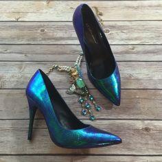 BCBG blue Iridescent Mermaid Metallic Heels Omg! Omg!  worn once! Must have heels! BCBGeneration Shoes Heels