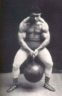 Vintage Russia strongman with biggest kettle bell in the world