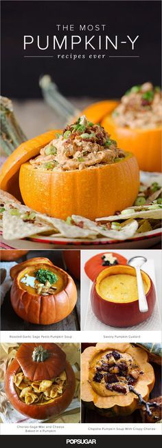 The only thing better than pumpkin recipes is pumpkin-stuffed pumpkin recipes. Yep, we've gone meta on you. Pumpkin soup stuffed in a pumpkin, pumpkin custard baked inside of a pumpkin . . . we could go on, but instead, we'll let you look to your heart's content.