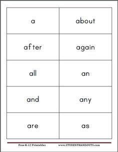 frys first 300 instant sight words free printable flash cards for kids