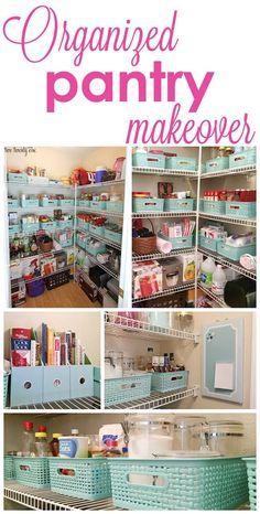 Pantry organization makeover with boxes and labels