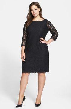 Lace Overlay Sheath Dress (Plus Size)