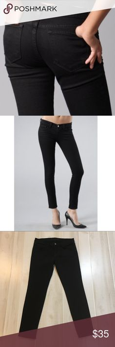 "J Brand Skinny Jeans in Jett Black 30x29 J Brand Skinny Black Jeans in Jett.  This is a true dark black.  Size 30.  Inseam 29"".  Waist measures approx 15.5 straight across the front.  Rise is 8"".  Jeans are in like new condition.  Only signs that they have been worn is some pilling on inside of pockets and that's it!  2% Spandex. J Brand Jeans Skinny"