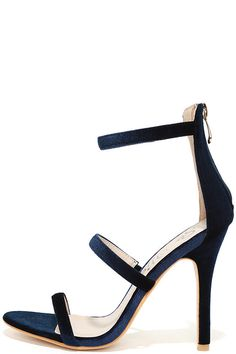 569b86481694 Chic Navy Heels - Velvet Heels - Ankle Strap Heels -  36.00 Navy Strappy  Heels