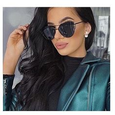 LOVE PUNCH Flat Lens Mirrored Cateye Sunglasses Metal Frame Shades For Unisex 86798D Black * You can find out more details at the link of the image.Note:It is affiliate link to Amazon.