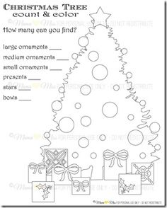 Count & Color Christmas Tree printable. {mama♥miss} ©2012