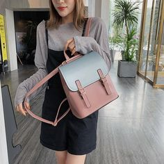 Panelled Backpack Women Leather School Bags for Teenager Girls Belts Shoulder Travel Bags Multifunctional Small Rucksack Outfit Accessories From Touchy Style.