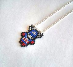 Chibi Captain America Necklace Handmade Handbeaded by ABITRETRO, $12.50