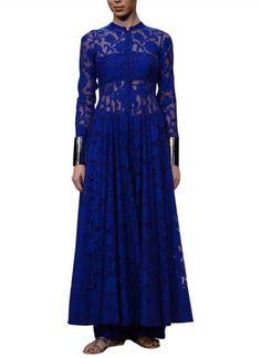 Blue Net Brocade Suit
