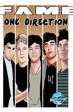 Fame: One Direction: Graphic novel. Bluewater Productions latest offering in it's popular line of Fame biography comics features up and coming boy band One Direction. One Direction are a British-Irish boy band consisting of members Niall Horan, Zayn Malik, Liam Payne, Harry Styles and Louis Tomlinson. In print as well as ebooks  on Nook Kindle & iTunes