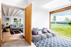 Old cottage extension glazed corridor to living room