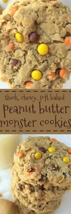 These triple peanut butter monster cookies are a peanut butter lovers dream Cookie Desserts, Just Desserts, Cookie Recipes, Delicious Desserts, Dessert Recipes, Soft Monster Cookies, Cookie Monster, Peanut Butter Chips, Peanut Butter Recipes