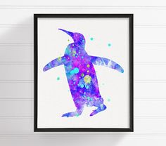 Purple Penguin Painting Penguin Poster by MiaoMiaoDesign on Etsy