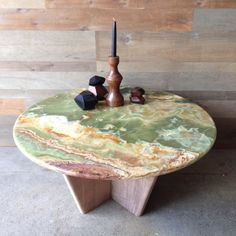 gorgeous Green onyx table with black walnut base. at seanwoolsey.com