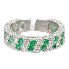 Emerald Diamond Platinum Two Row Band Ring | 1stdibs.com