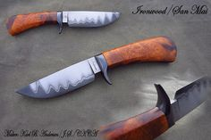 ) San Mai blade Hot-blued steel guard Ironwood handle Ought to make a feller proud. Hand Forged Knife, Types Of Knives, Hot Blue, Fixed Blade Knife, Knife Making, Blacksmithing, Bowie Knives, Black Labs, Steel