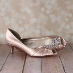 Dress up your walk down the aisle with these lovely d'orsay peep toe custom wedding shoes. This custom wedding shoe is shown in blush and