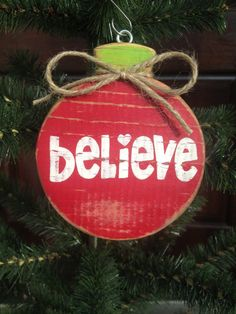 Believe Hand Painted Christmas Wood Ornament
