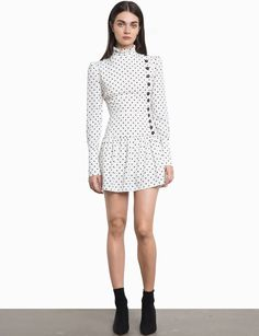 0596afa853c Estimated Arrival November 9 Cute polka dot dress with button side front  and ruffled high collar