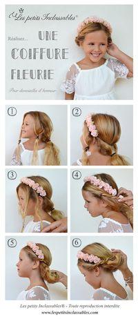 Tutoriel de coiffure pour enfants, coiffure fleurie pour fille pour un mariage / Hair tutorial for flowergirls
